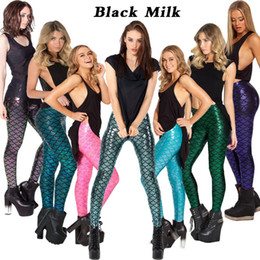 Wholesale Silk Pants Woman - 2017 Black Milk Silk Bars Fashion Woman Pant Leggings High Elastic Ankle Length Trousers seamless shiny Mermaid woman gift
