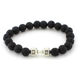 Wholesale Silver Energy Bracelet - Men Women Lava Rock Matte Agate Beads Charka Bracelet Black Healing Energy Stone Gemstone Bracelet[GE02310]