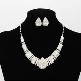 Wholesale 925 Silver Jewellery Sets - 925 Silver Plated Bridal Jewelry Set Angle Tear Rhinestone Crystal Necklace Earrings for Bridal Wedding Statement Jewellery JS-8605