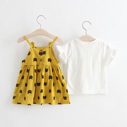 Tenue coréenne mignonne en Ligne-Jolies filles chat impression jarretelles robes 2019 été enfants Boutique Vêtements coréen petites filles Tee Top + robes 2 PC Set