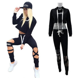 Wholesale Sexy Pants Tops - hot sale girl casual tracksuits Europe American style hooded sweatshirt sexy crop top cut out pant