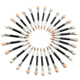 Wholesale Sponge Eyeshadow Applicators Makeup - New 50 Pcs Applicator Double-Ended Cosmetic Brushes Women Makeup Eyeshadow Eyeliner Sponge Lip Brush Set Disposable