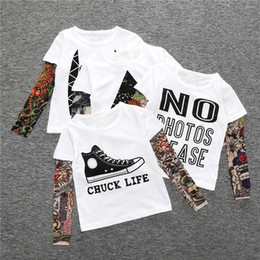 Wholesale Baby Long Sleeved Shirts - INS Kids Baby Clothes Boys Girls Long Sleeve T-shirt Patchwork Hip Hop Fashion Tattoo Sleeve Tops Tees Children Kids Clothing