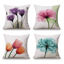 Wholesale green brown bedroom - Flower Cushion Cover Watercolor Tulip Peach Floral Birds Thick Linen Cotton Pillow Cover 16 Styles 45X45cm Bedroom Sofa Decoration