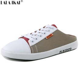 Wholesale Flat Back Decor - Wholesale- New Summer Adhesive Men Summer Sandals Mixed Colors Cross-tied Slip On Sandals Men Casual Lace Up Decor Mules Men XMB0041-0.5