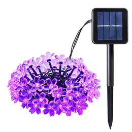 Wholesale Long String Led Christmas Lights - Wholesale- Solar Outdoor String Lights 21ft 50 LED Purple Blossom Christmas Lights for Home Bedroom,Garden,Walkway Long Working Time Light