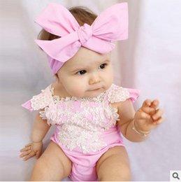 Wholesale Headband Big Pink Bow - Children romper clothes baby girls fly sleeve lace jacquard romper +big bow Headband 2pcs sets 2017 summer kids star jumpsuit T0833