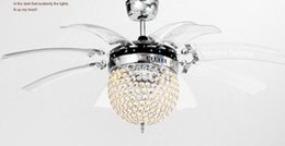 Wholesale Modern Minimalist Chandeliers - Modern minimalist LED crystal chandelier ceiling fan light dining room fan invisible telescopic lamp with the fan