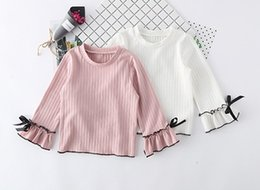 Wholesale Korean Children Clothing Brands - Sweet Girls Bow Sleeves Cuff Tops 2017 Fall Children Boutique Clothing Korean 2-7Y Little Girls Long Sleeves Solid Color Under T-Shirts