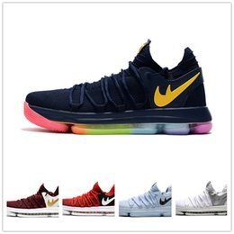 Wholesale Woman Shoes Shop - Women KD 10 Basketball shoes White Chrome University Red Be True Anniversary Outdoor Sports Shoes High quality Free Shopping Size 36-40