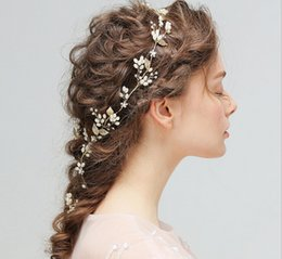 flower hairpieces Promo Codes - 2017 Bridal Handmade Pearl Ribbon Fashion Hairpieces With diamond Head Ornaments Wedding Bridesmaid Hair Decorated Headbands