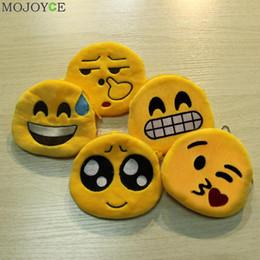 Wholesale Smiley Face Purses - Wholesale- Emoticon Yellow Round Coin Bag Zipper Plush Toy Pendant Design Purse Smiley Face Bag Hanged Chain Coin Wallet Emoji Purse