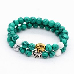 Wholesale Tibetan Silver Gemstone Jewelry - HOT POPULAR Jewelry Simulated Gemstone on silver&gold plating component Tibetan Silver Elephant green&whiteTurquoise Bangle For uinsex Gift