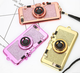 Wholesale Iphone Holder Lanyard - Korean 3D Retro Camera Phone TPU Cases For iphone 7 6 6S Plus Case Luxury Electroplating Soft Cover Stand Holder Mirror With Lanyard
