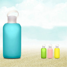 Wholesale Silicone Jelly Pcs - BKR glass bottle Design Silicone Cover candy color cloth pocket glass water bottle Jelly sport water bottles