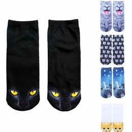fille chat vintage Promotion Vintage 3D Imprimé Low Cut Chaussettes Filles Cute Kawaii Cartoon Cat Animal Funny Chaussettes Coton Femme Xmas Automne Chaussettes Chaussures D'hiver