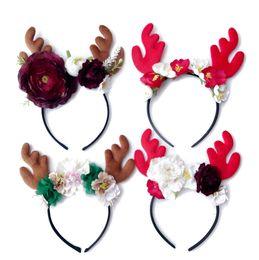 Wholesale Hairbows Character - Kids Girls Christmas Hair Hoops 2018 Deer Flowers Headbands for Little Girls Infant Toddler 4 Colors