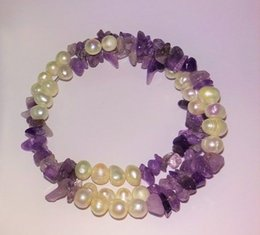 Wholesale Wired Pearl Strands - Wholesale cheap Beautiful Genuine Amethyst and Free Form Pearl Twist Wire Beaded Bracelet