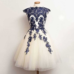 Wholesale Two Toned Purple Formal Dress - Fabulous Short Cheap Sexy Prom Dress Two Tone Ivory Off White Tulle Blue Lace Appliques Bateau Neck Capped Shoulder Formal Party Gowns