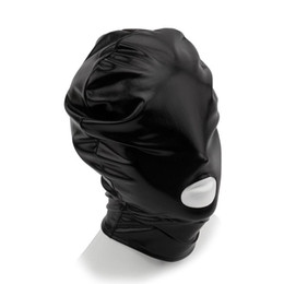 Wholesale Spandex Bondage Hood - Fetish Open Mouth bdsm Bondage Hood, Unisex Spandex Stretchy Sex Slave Mask Adult Games Erotic Toys Sex Toys for Couples