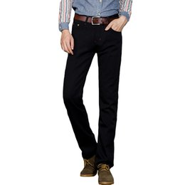 Wholesale New Men Fashion Look - Wholesale-New Fashion Style Black Male Jeans Straight Zipper Fly Youth Popular Men Trousers Slim Looking Solid Good Quality Comfortable