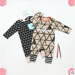 Wholesale Baby Striped Bodysuit - Ins Baby Romper 2017 Summer Striped Geometric Triangle Baby Onesies Newborn Girls Jumpsuit Toddler Infant Outwear Bodysuit Baby Clothes