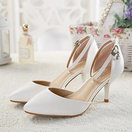 Wholesale Apricot Pointed Heels Pumps Shoes - Women Fashion Black&Apricot High Heels Shoes Pointed Toe Anklle Buckle Strap Pumps Woman Side Hollow Out Casual Shoes Plus Size