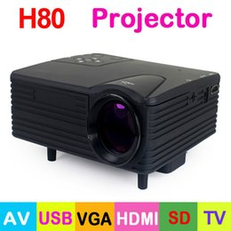 Wholesale Vga Prices - Wholesale-Factory Price H80 Portable Mini LED Projector 640x480 Pixels Support full HD 1080P with AV USB VGA HDMI SD Card TV laser Beamer