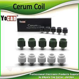Wholesale Quartz Replacement - Original Yocan Cerum Coil Head Ceramic Donut Quartz Dual QDC Replacement Coils For Cerum Wax Vaporizer Atomizer 3 color 100% Genuine 2204040