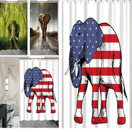 Wholesale Curtain Printing - New 3D Printing Shower Curtains 150x180cm Elephant Printed Waterproof Polyester Shower Curtain Bathroom Partition Curtains IA021