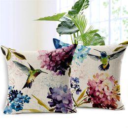 Almohadas hermosas online-1 Unids Algodón Lino Diseño Cuadrado Throw Pillow Case Cojín Decorativo Funda de Almohada Aves Hortensia Estilo Muy Hermoso