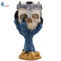 Wholesale White Goblets - Wholesale- Creative Horror Halloween Skull Hand Goblet Stainless Steel 3D Skeleton Knight Drinking Mug Beer Cup Home Bar Drinkware