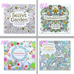 Wholesale Hot Book Design - Hot 4 Designs Adult Coloring Books Secret Garden Animal Kingdom Fantasy Dream Enchanted Forest 24 Pages Kids Adult Painting Colouring Book