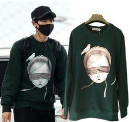 Wholesale Green Peace - hcmx Exo chanyeol Chan Yeol JUUN J dark green sweatshirt hoodies pullovers blindfolded girl peace dove sweatshirt