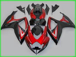 Wholesale Gsxr Abs Motorcycle Fairing - Motorcycle Fairing kit for 2006 2007 SUZUKI GSXR600 750 GSXR600 GSXR750 K6 06 07 GSXR 600 ABS Red gloss black Fairings set MN38