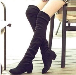 Wholesale Wholesale Heels Boots - Wholesale- Womens Boots Ladies New Fashion Sexy Knee-high Long Boots Low Heel Winter Autumn Shoes Slip-on Leisure Folding Women Shoes