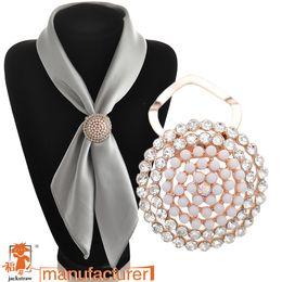 Wholesale Silk Scarf Clips - Wholesale- 2016 Newest Accessories round rhinestone silk scarf buckle fashion enamel brooch Luxury wedding cape clip
