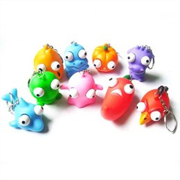 Wholesale Wholesale Toy Frogs - 10pcs Crowded dolls Small key chain Pendant Scary toy frog cartoon big eyes animals Silica gel vent Novelty Outrageous kids toys