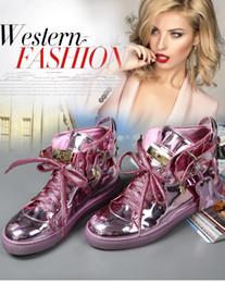 Wholesale Silver Hip Hop Shoes - European platform real leather casual shoe ladies flat shoes, popular logo lock shoes hip hop high shoes women