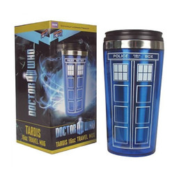 Wholesale stainless steel thermos free shipping - Wholesale- Free shipping Doctor 450ml Dr. Who Tardis Coffee Cup With Lid Coffee Bottle Stainless Steel Interior Thermos Mug
