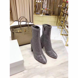 Wholesale Ladies Cloth Design - Fashion women martin boots weaving velvet glitter side zipper half boots new design shoes for lady