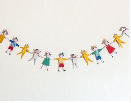 personagens de desenho de decorações de festa Desconto Atacado-1pcs venda quente personagens de desenhos animados bandeiras de papel Garland Baby Bunting Banner Crianças Birthday Party Decoração Suprimentos