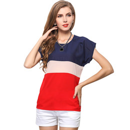 Wholesale Loose Solid Tanks For Women - Summer Contrast Colors Chiffon Ladies Short Sleeves T-Shirt Female Tee Blouse Tee Shirt Tanks Tops Brand New Loose Clothing for Women S-3XL