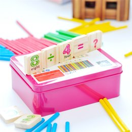 Wholesale Toy Wood Iron - toy baby grand piano New Baby toys Early Learning Counting Educational Toy Children Wooden Numbers Mathematics Toys with Iron Box