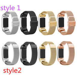 Wholesale Magnetic Bracelet Connectors - Magnetic Milanese Loop Watchband For Fitbit Charge 2 Smart Bracelet Stainless Steel Metal Strap for Fitbit Watch with Connector