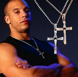 Wholesale Wholesale Fast Furious - 017 new arrival The Fast and Furious movie Dominic Toretto Classic Male Rhinestone CROSS Pendant Necklace