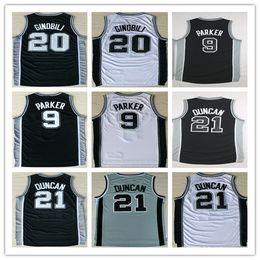 Wholesale Manu Black - 2017 New Black 21 Tim Duncan 9 Tony Parker Basketball Jerseys Cheap Black White Gray Embroidery Logos 20 Manu Ginobli Jersey Good