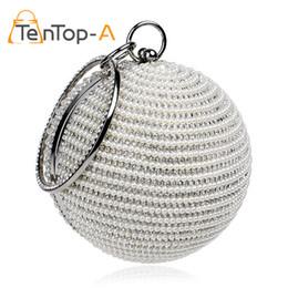 Wholesale Silk Purse Clutch - TenTop-A Best Price Women's Pearl Beaded Diamond Tellurion Evening Bag Bridal Wedding Round Ball Wrist Bag Clutch Purse Handbag