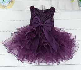 Wholesale Korean Evening Party Dress - 2016 girls tutu dresses princess dresses for kids baby girl party dresses children ruffle dress pearl dress korean bowknot evening dress