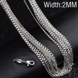 Wholesale Flat Curb Chain Wholesale - 2mm 925 Silver Flat Curb Chains Elegant 16-30 Inches Long Necklace Chain For DIY Clavicle Chain Choker Jewelry Making Accessories